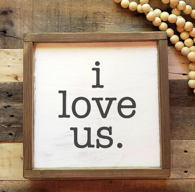 Buy Blue Door Designs - I love us rustic wood sign farmhouse wedding gift from Walking Pants Curiosities, the Most un-General Gift Store in Downtown Memphis, Tennessee!
