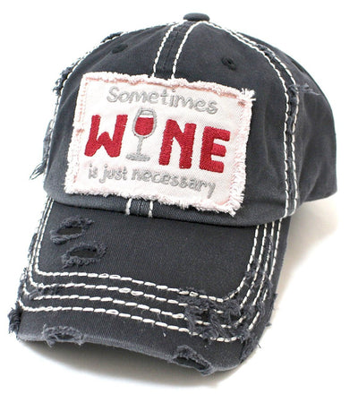 Buy Sometimes Wine Is Just Necessary Distressed Women's Hat from Walking Pants Curiosities, the Most un-General Gift Store in Downtown Memphis, Tennessee!
