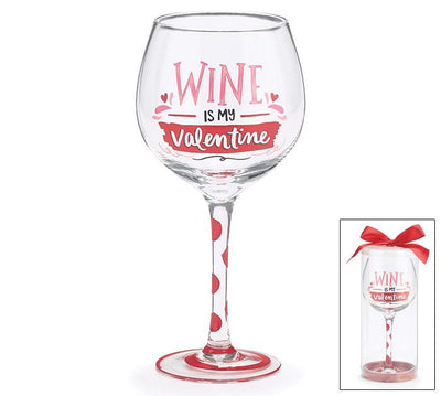 Wine Is My Valentine Long Stemmed Wine Glass Walking Pants