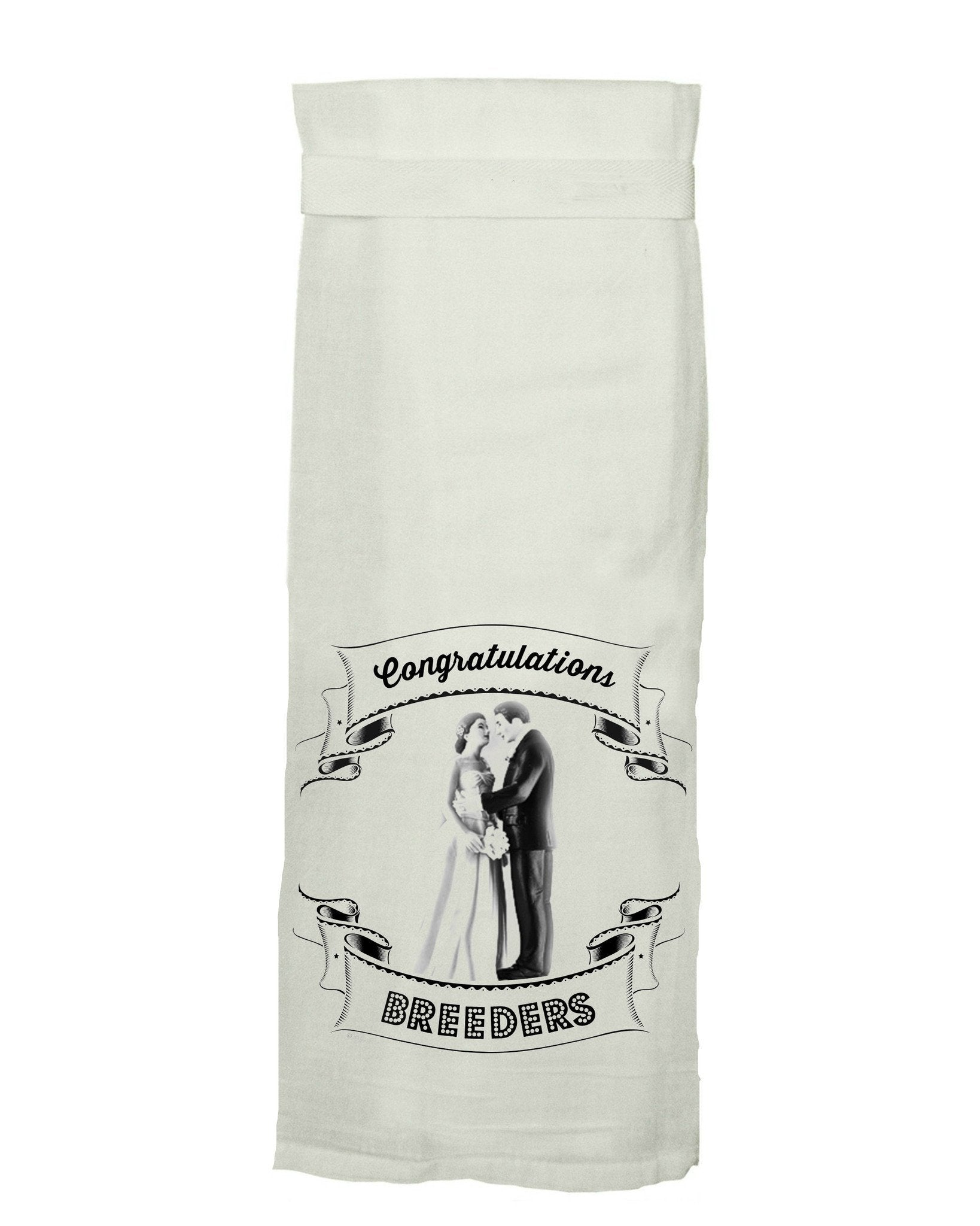 Buy Congratulations Breeders Flour Sack Tea Towel from Walking Pants Curiosities, the Most un-General Gift Store in Downtown Memphis, Tennessee!