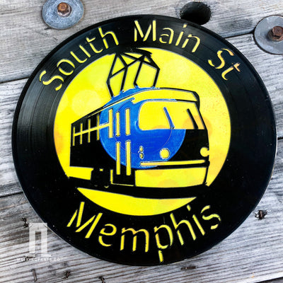 Buy South Main Arts District in Downtown Memphis Vinyl Record Art Series from Walking Pants Curiosities, the Most un-General Gift Store in Downtown Memphis, Tennessee!