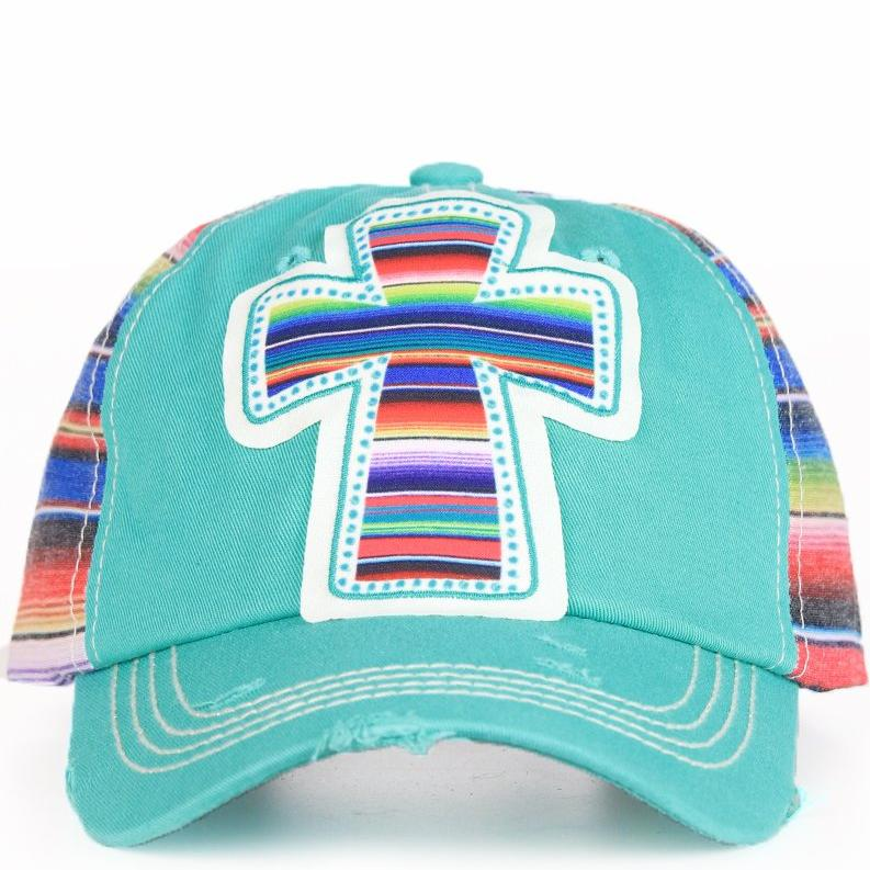 Serape Cross Patch on Turquoise & Serape Hat - Walking Pants Curiosities