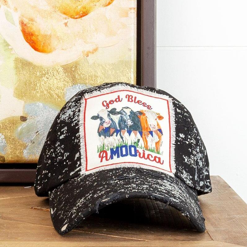 God Bless A-MOO-Rica Patch on Black Splatter Hat - Walking Pants Curiosities