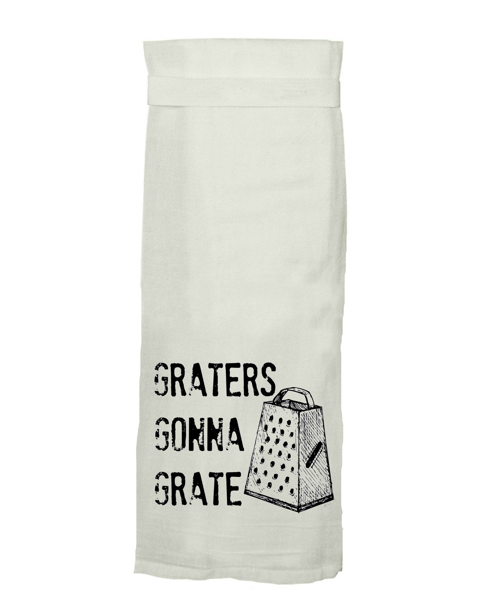 Buy Graters Gonna Grate Flour Sack Tea Towel from Walking Pants Curiosities, the Most un-General Gift Store in Downtown Memphis, Tennessee!