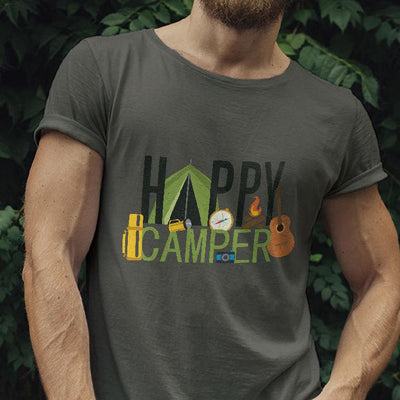 Buy Happy Camper Short-Sleeve Unisex T-Shirt from Walking Pants Curiosities, the Most un-General Gift Store in Downtown Memphis, Tennessee!