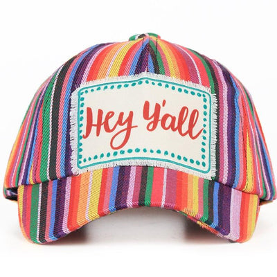 Buy Hey Y'all Patch on Fiesta Striped Hat from Walking Pants Curiosities, the Most un-General Gift Store in Downtown Memphis, Tennessee!
