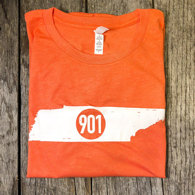 Buy 901 on Tennessee Map Short Sleeve T-Shirt from Walking Pants Curiosities, the Most un-General Gift Store in Downtown Memphis, Tennessee!