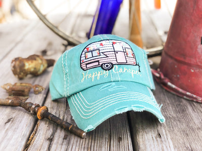 Buy Happy Camper Vintage Women's Hat, a Hats from Walking Pants Curiosities, the Best Gift Store in Downtown Memphis, Tennessee!
