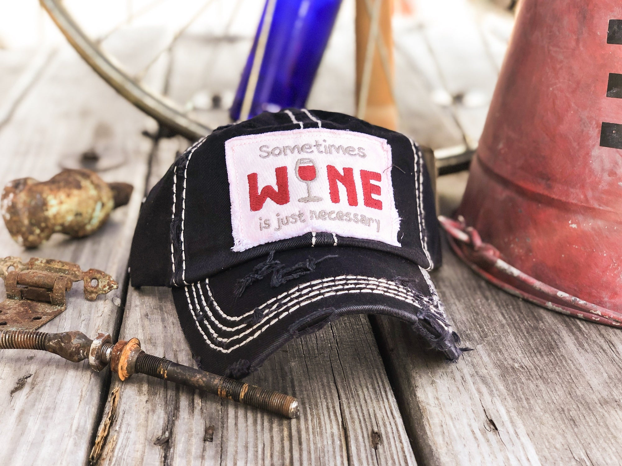 Sometimes Wine Is Just Necessary Distressed Women's Hat - Walking Pants Curiosities