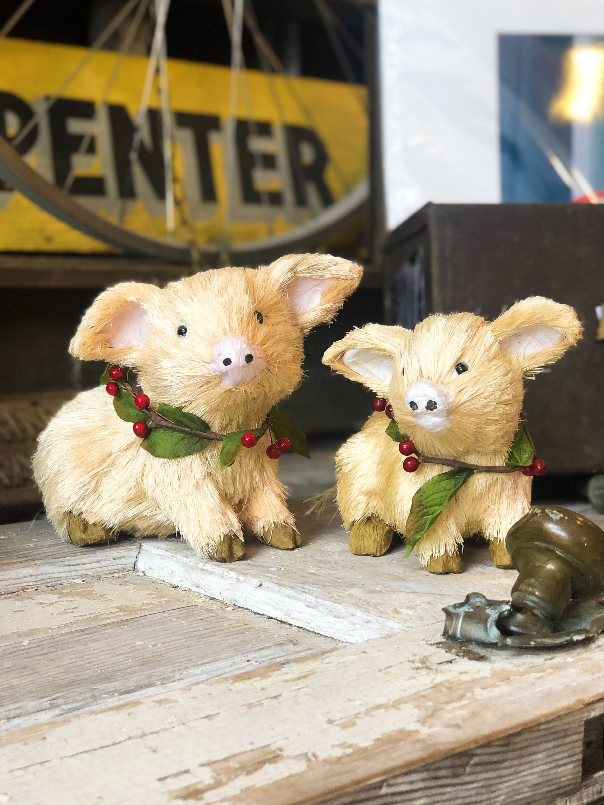 Buy Christmas Decorative Pigs - Set of 2 from Walking Pants Curiosities, the Most un-General Gift Store in Downtown Memphis, Tennessee!