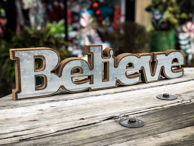 Buy Wood & Metal Believe Sign from Walking Pants Curiosities, the Most un-General Gift Store in Downtown Memphis, Tennessee!