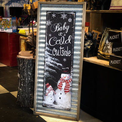 Buy Baby It's Cold Outside Rustic Wood & Metal Snowman Wall Art from Walking Pants Curiosities, the Most un-General Gift Store in Downtown Memphis, Tennessee!