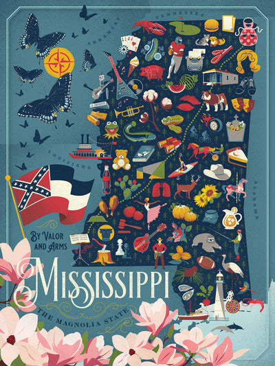 Buy Map of Mississippi, 500 Piece Jigsaw Puzzle from Walking Pants Curiosities, the Most un-General Gift Store in Downtown Memphis, Tennessee!