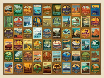 Buy National Parks Patches 500 Piece Jigsaw Puzzle from Walking Pants Curiosities, the Most un-General Gift Store in Downtown Memphis, Tennessee!