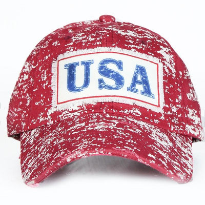 Buy Vintage USA Patch on Red Splatter Hat from Walking Pants Curiosities, the Most un-General Gift Store in Downtown Memphis, Tennessee!