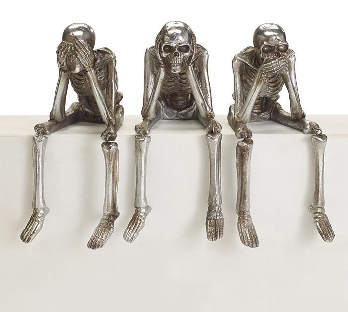 Buy See Hear Do No Evil Skeleton Trio with Dangle Legs from Walking Pants Curiosities, the Most un-General Gift Store in Downtown Memphis, Tennessee!