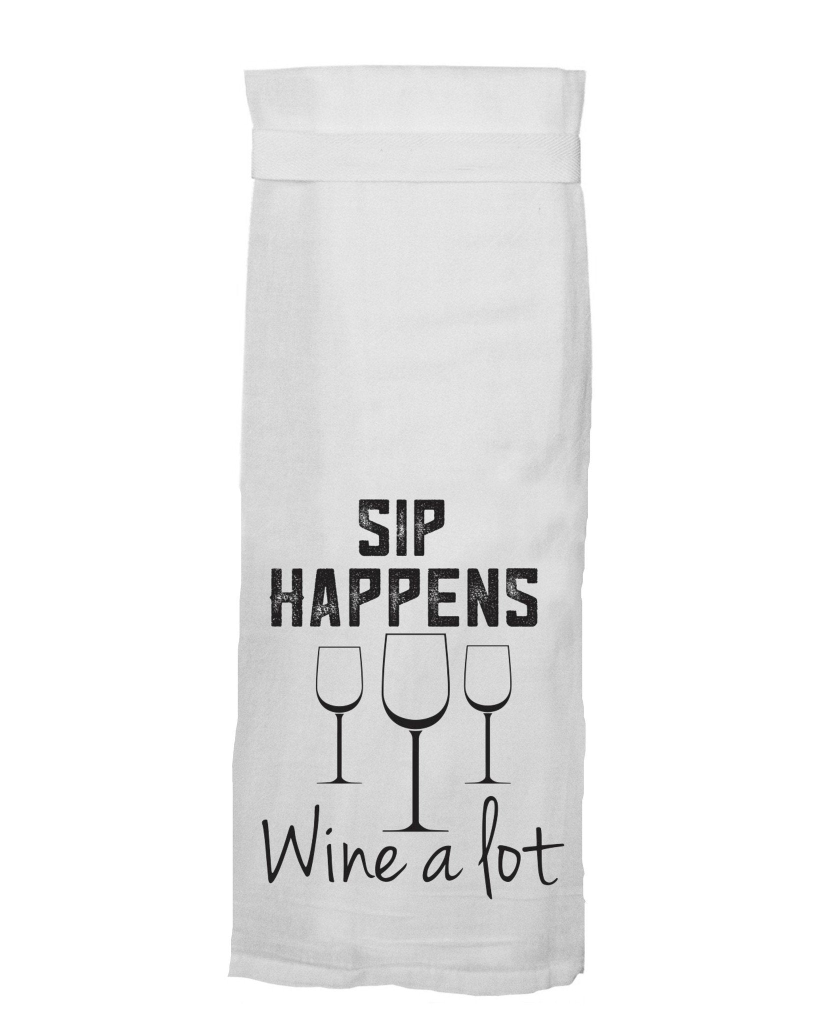 Buy Sip Happens Flour Sack Tea Towel from Walking Pants Curiosities, the Most un-General Gift Store in Downtown Memphis, Tennessee!