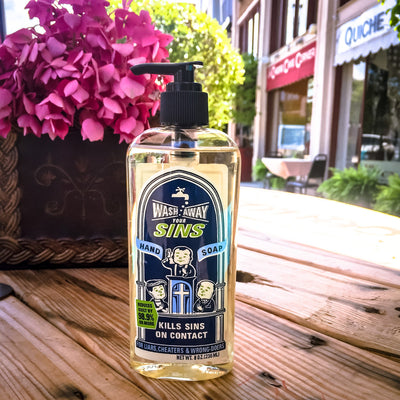 Buy Wash Away Your Sins Liquid Hand Soap from Walking Pants Curiosities, the Most un-General Gift Store in Downtown Memphis, Tennessee!