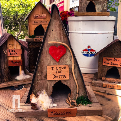 Buy I Love The Delta A-Frame Wren Birdhouse, a Birdhouse from Walking Pants Curiosities, the Best Gift Shop Store in Memphis, Tennessee!