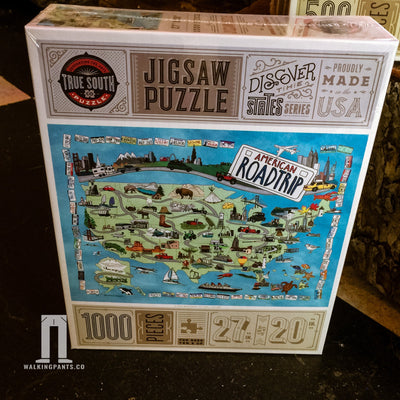 Buy American Road Trip, 500 Piece Jigsaw Puzzle, a Puzzle from Walking Pants Curiosities, the Best Gift Store in Downtown Memphis, Tennessee!