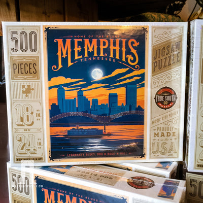 Buy Memphis Skyline, 500 Piece Jigsaw Puzzle, a Puzzle from Walking Pants Curiosities, the Best Gift Shop Store in Memphis, Tennessee!