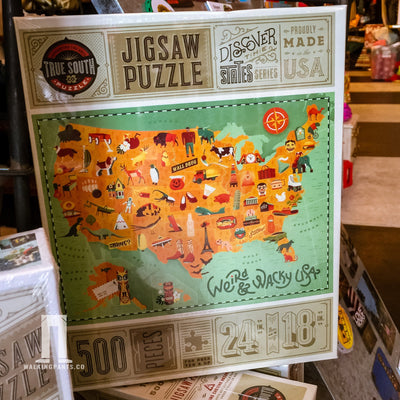 Buy Weird and Wacky USA Map, 500 Piece Jigsaw Puzzle, a Puzzle from Walking Pants Curiosities, the Best Gift Shop Store in Memphis, Tennessee!