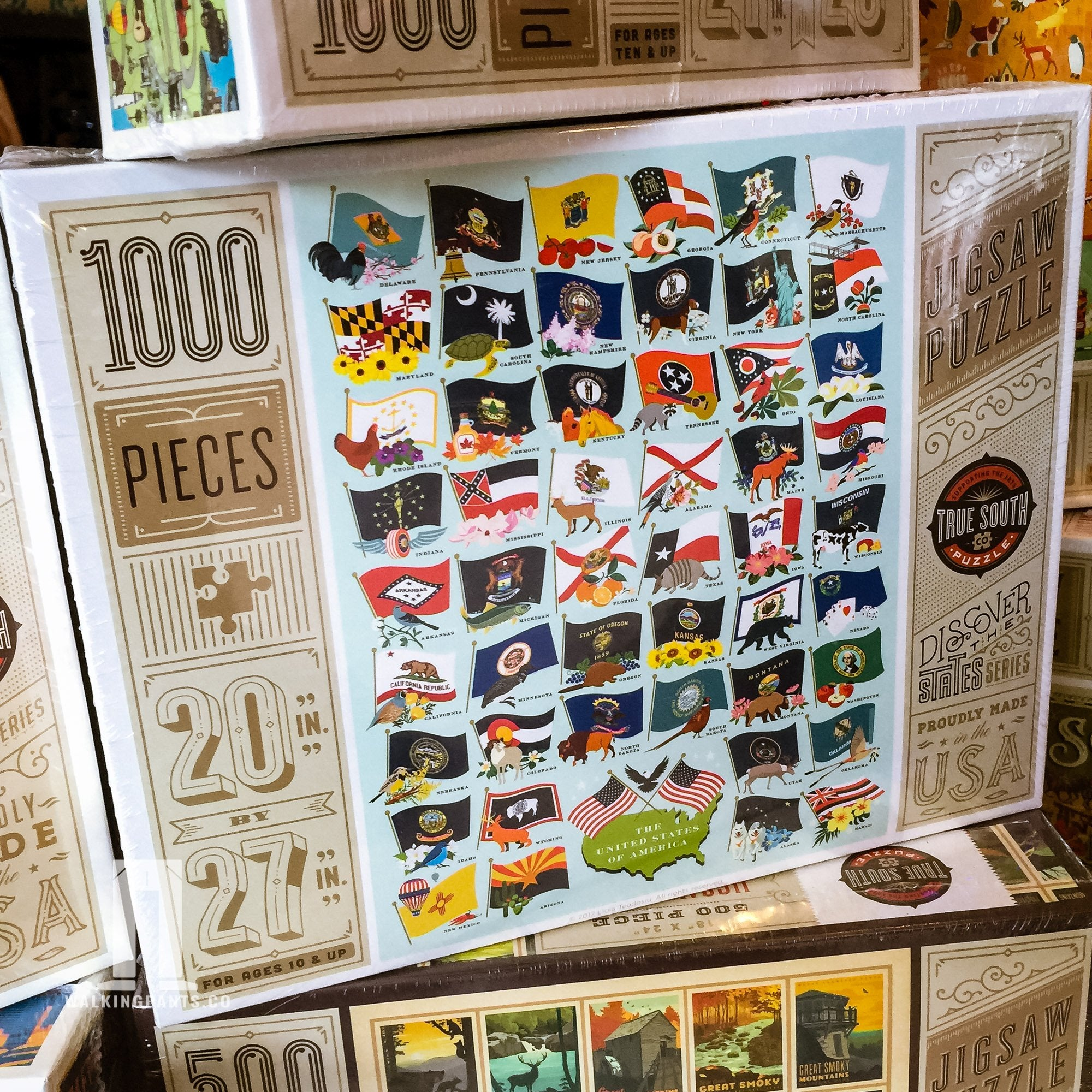 Buy United States Flags, 1000 Piece Jigsaw Puzzle from Walking Pants Curiosities, the Most un-General Gift Store in Downtown Memphis, Tennessee!