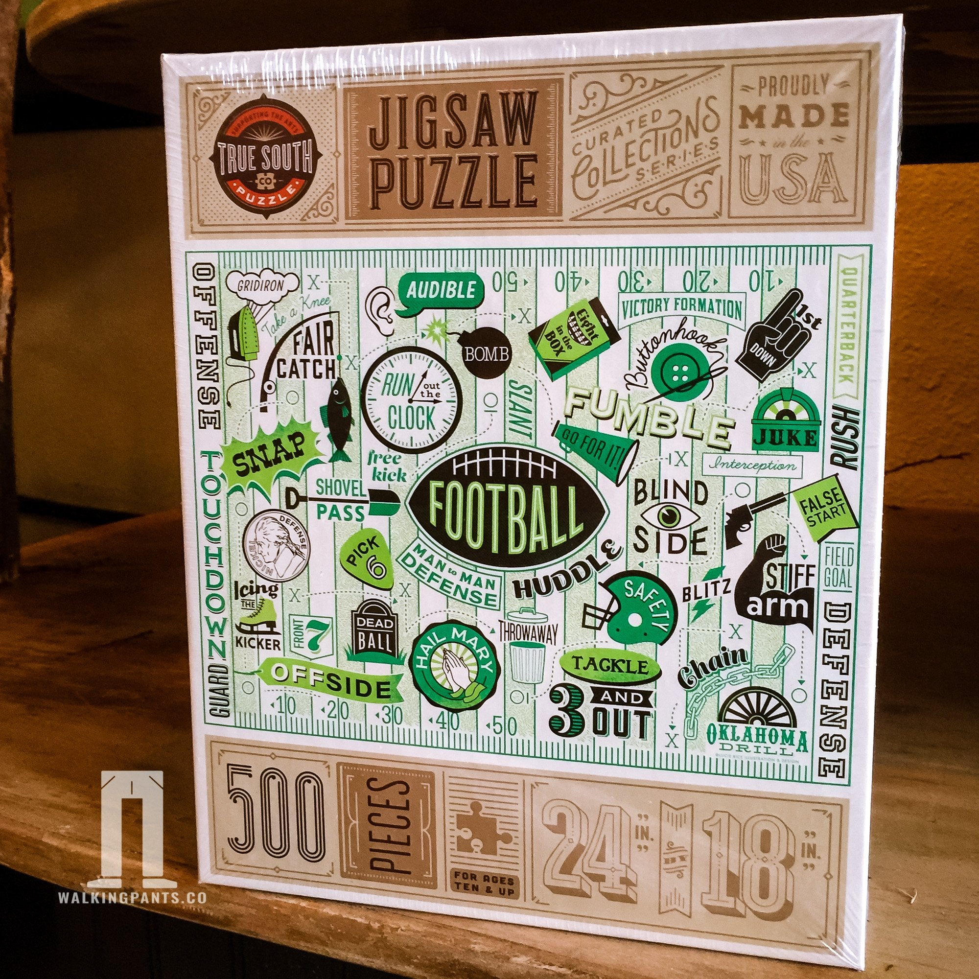 Buy Football, 500 Piece Jigsaw Puzzle from Walking Pants Curiosities, the Most un-General Gift Store in Downtown Memphis, Tennessee!