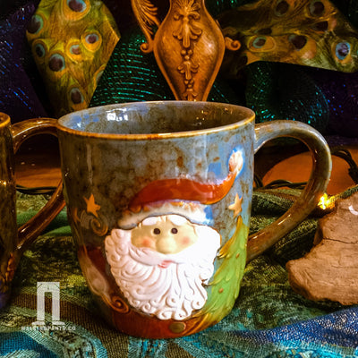 Buy Santa's Face Ceramic Christmas Coffee Mug from Walking Pants Curiosities, the Most un-General Gift Store in Downtown Memphis, Tennessee!