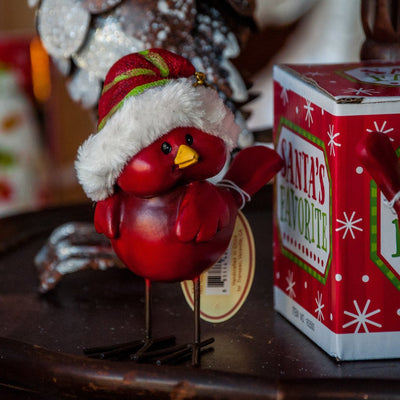 Buy Cardinals with Fuzzy Christmas Hats, Set of 4 from Walking Pants Curiosities, the Most un-General Gift Store in Downtown Memphis, Tennessee!