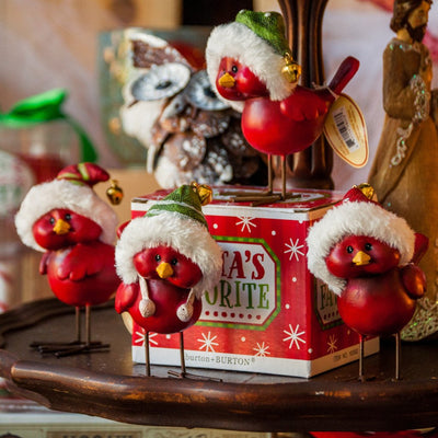 Buy Cardinals with Fuzzy Christmas Hats, Set of 4, a Gifts and Home Decor from Walking Pants Curiosities, the Best Gift Shop Store in Memphis, Tennessee!