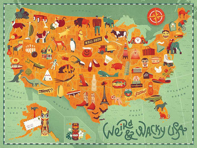 Buy Weird and Wacky USA Map, 500 Piece Jigsaw Puzzle, a Puzzle from Walking Pants Curiosities, the Best Gift Shop in Memphis, Tennessee!