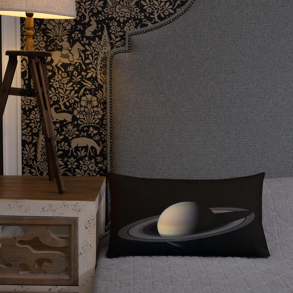 Saturn From Cassini Throw Pillow - Walking Pants Curiosities