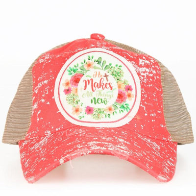 Buy He Makes All Things New Patch on Coral Spatter Hat with Mesh from Walking Pants Curiosities, the Most un-General Gift Store in Downtown Memphis, Tennessee!