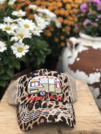 Buy Happy Camper Vintage Women's Hat from Walking Pants Curiosities, the Most un-General Gift Store in Downtown Memphis, Tennessee!