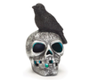 Lighted Silver and Black Skull with Crow