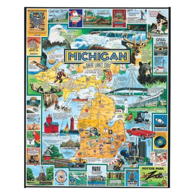 Buy Best of Michigan 1000 Piece Jigsaw Puzzle from Walking Pants Curiosities, the Most un-General Gift Store in Downtown Memphis, Tennessee!