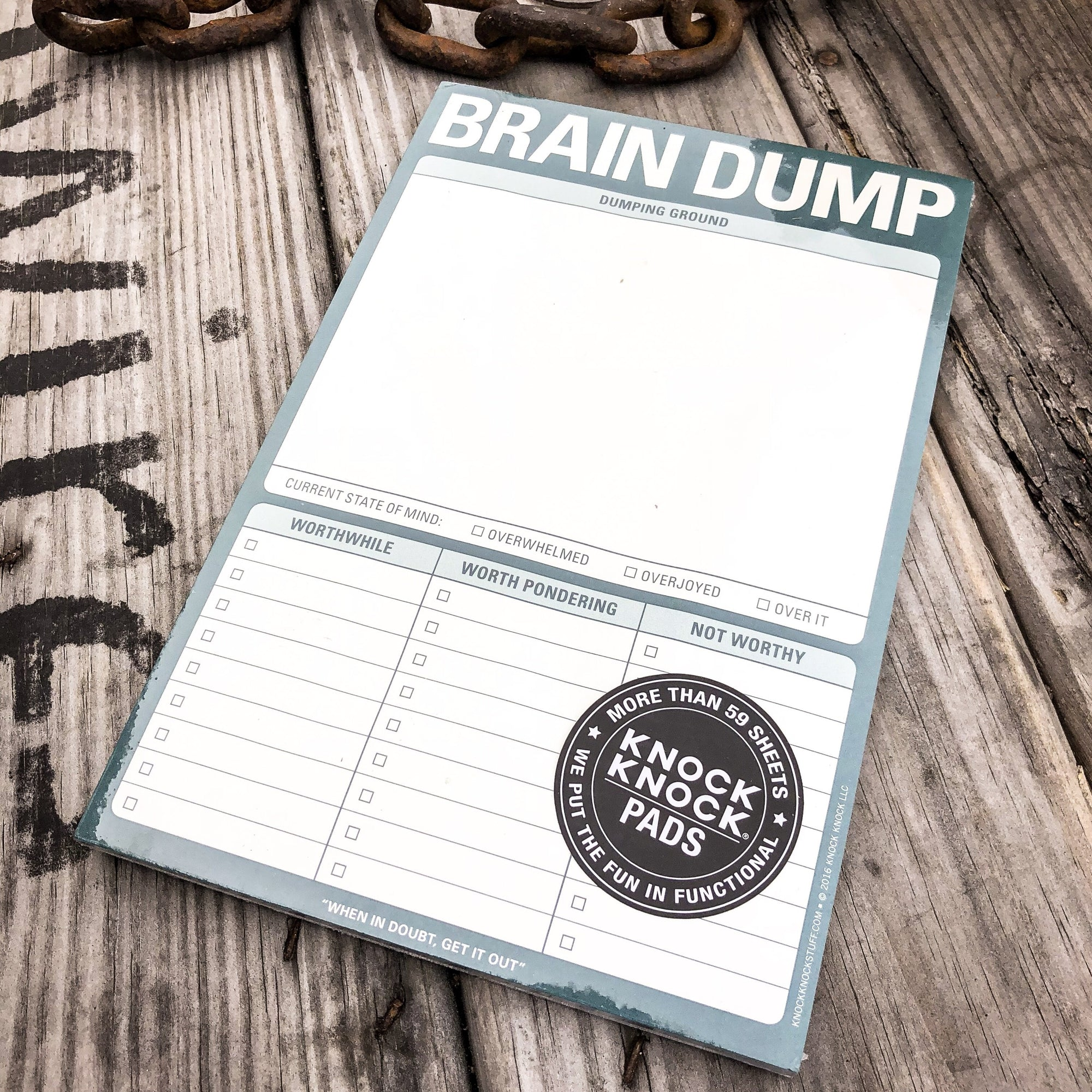Buy Brain Dump Pad from Walking Pants Curiosities, the Most un-General Gift Store in Downtown Memphis, Tennessee!