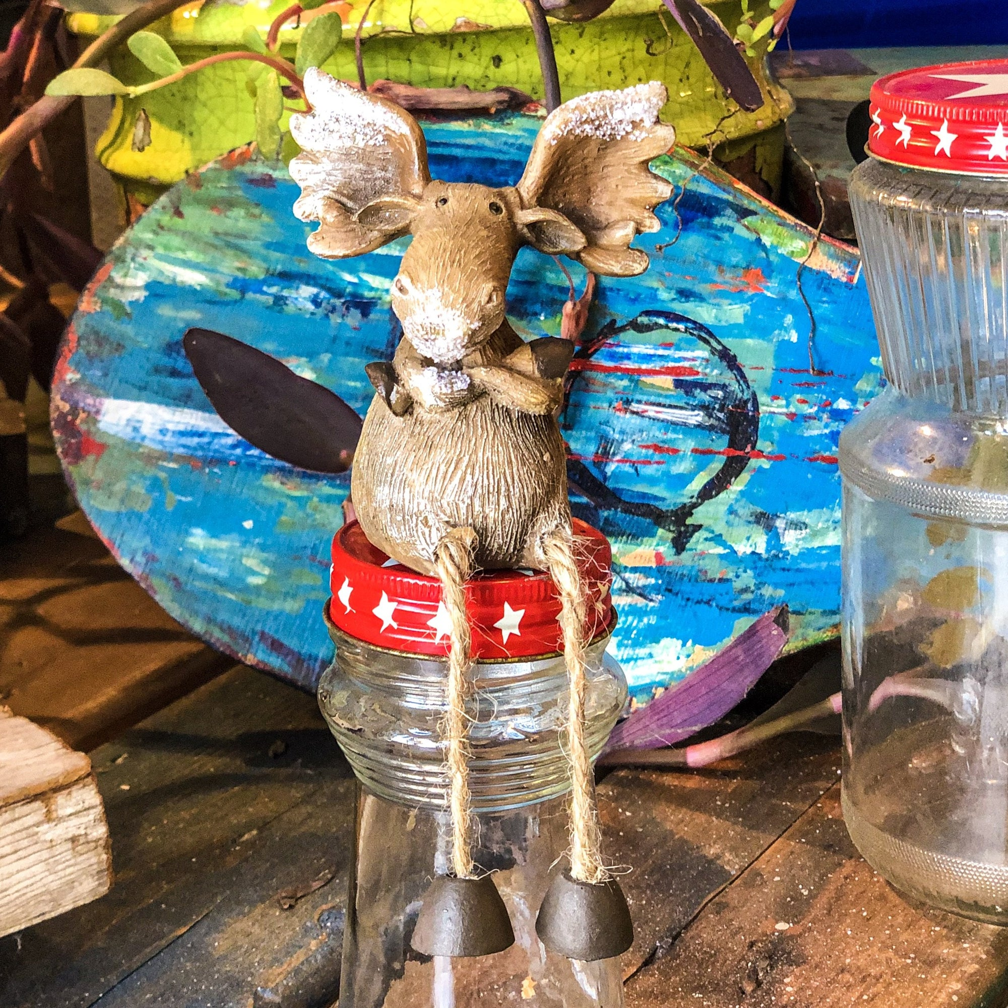 Buy Fred the Christmas Moose Shelf Sitter from Walking Pants Curiosities, the Most un-General Gift Store in Downtown Memphis, Tennessee!