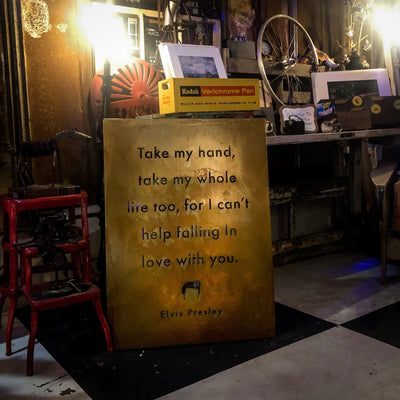 Buy Elvis Presley's I Can't Help Falling In Love With You Lyrics Metal Wall Decor from Walking Pants Curiosities, the Most un-General Gift Store in Downtown Memphis, Tennessee!