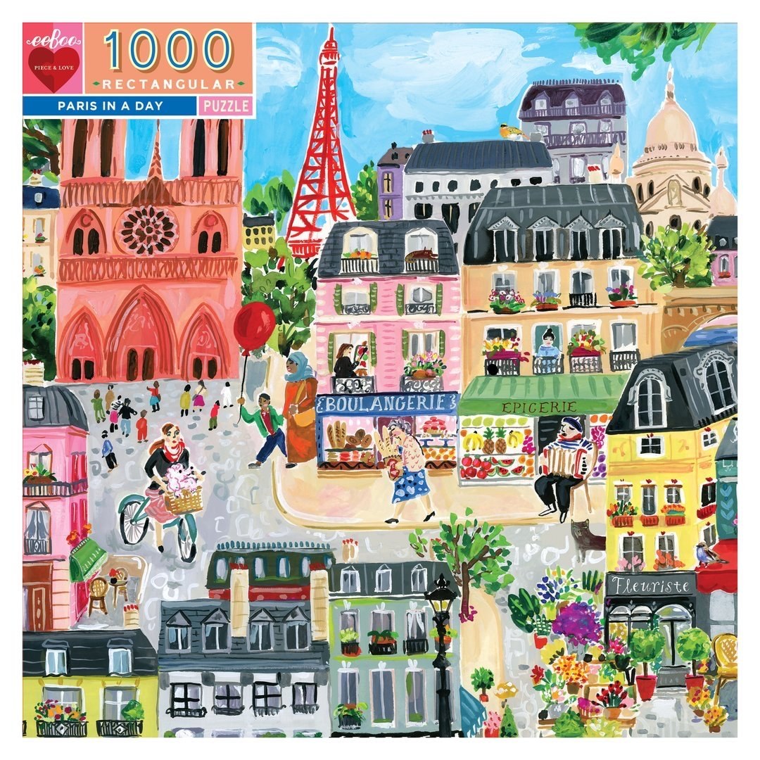 Buy BACK ORDER Paris in a Day 1000 Piece Rectangle Jigsaw Puzzle from Walking Pants Curiosities, the Most un-General Gift Store in Downtown Memphis, Tennessee!