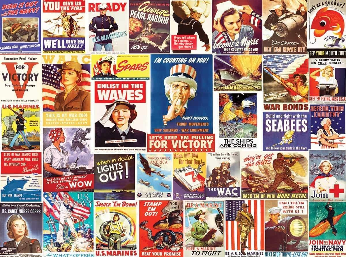 Vintage World War 2 Posters 500 Piece Jigsaw Puzzle - Walking Pants Curiosities