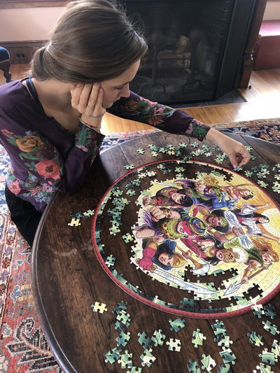 Buy Goddesses and Warriors 500 Piece Round Jigsaw Puzzle from Walking Pants Curiosities, the Most un-General Gift Store in Downtown Memphis, Tennessee!