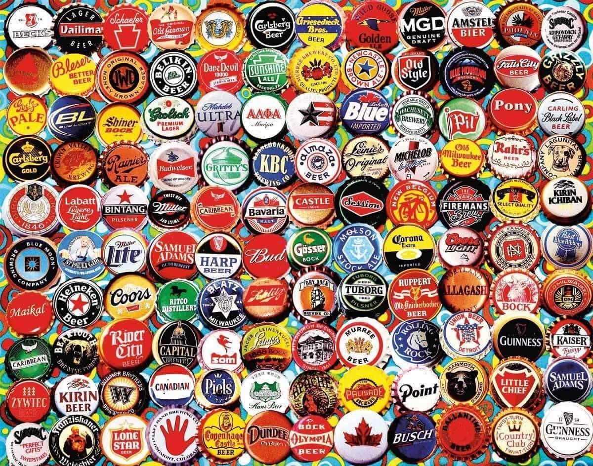 Beer Bottle Caps 500 Piece Jigsaw Puzzle - Walking Pants Curiosities