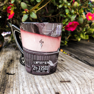 Buy Elvis Presley Pink Cadillac Souvenir Shot Glass from Walking Pants Curiosities, the Most un-General Gift Store in Downtown Memphis, Tennessee!