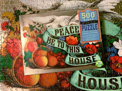 Buy Peace Be to This House 500 Piece Foil Jigsaw Puzzle from Walking Pants Curiosities, the Most un-General Gift Store in Downtown Memphis, Tennessee!