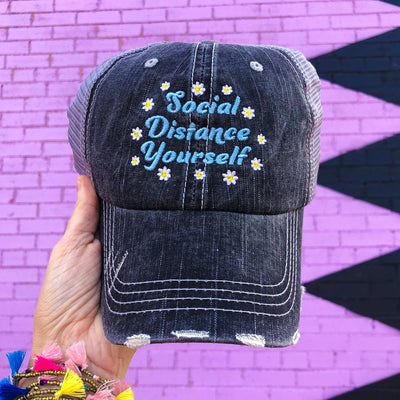 Buy Social Distance Yourself With Flowers Hat from Walking Pants Curiosities, the Most un-General Gift Store in Downtown Memphis, Tennessee!