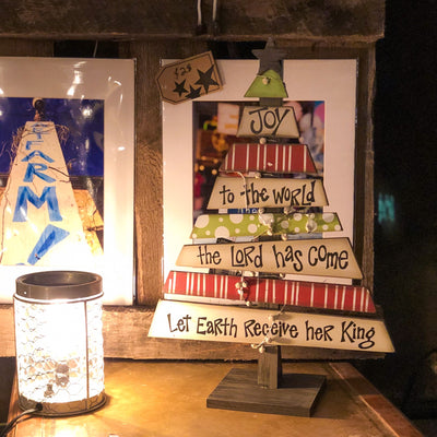 Buy Joy To The World Decorative Wood Christmas Tree with Scripture from Walking Pants Curiosities, the Most un-General Gift Store in Downtown Memphis, Tennessee!
