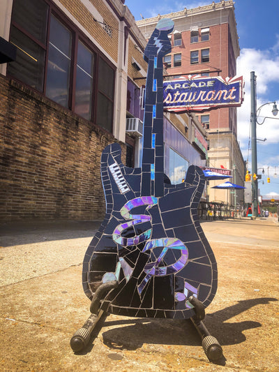 Buy Elvis Presley Mosaic Stained Glass Guitar from Walking Pants Curiosities, the Most un-General Gift Store in Downtown Memphis, Tennessee!