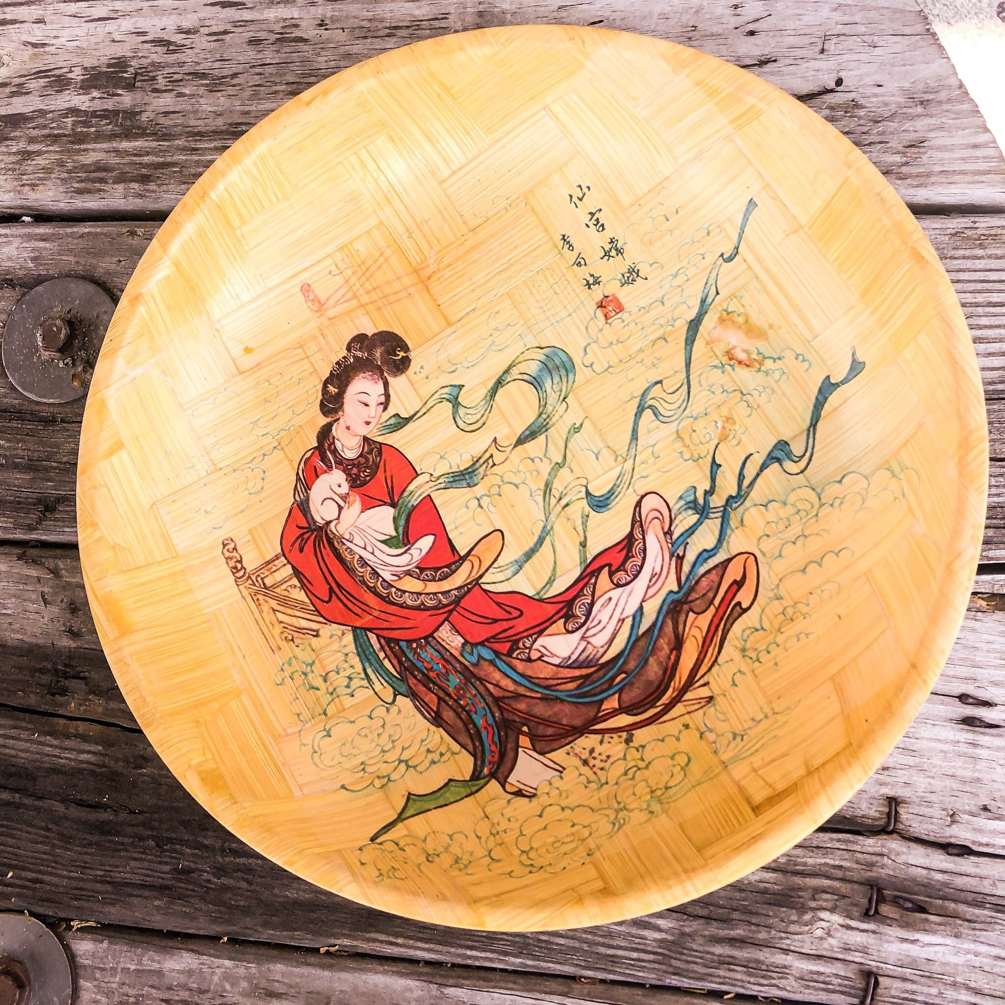 1960's Vintage Bamboo Plate, Bowl and Tray - Walking Pants Curiosities